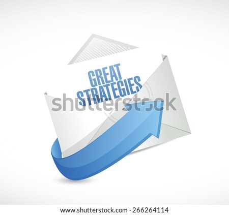 great strategies envelope mail sign illustration design over a white background - stock vector
