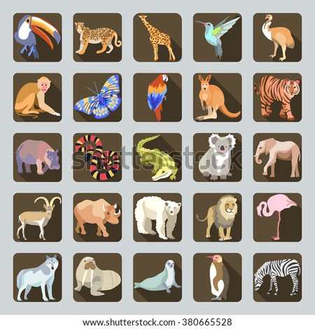 Great vector Icon set with unique brightly colored silhouettes of WILD animals on brown buttons in flat design cartoon style.  - stock vector