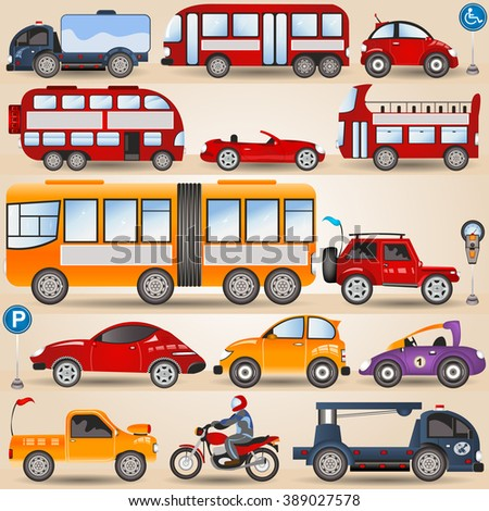Great vector illustration of different wheels: motorbike, urban city and sport cars, trucks, bus.