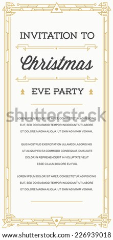 Great Vintage Invitation Gatsby Sign in Art Deco or Nouveau Epoch 1920's Gangster Era Vector to Christmas Eve Party - stock vector