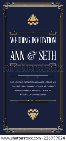 Great Vintage Invitation Sign in Art Deco or Gatsby Nouveau Epoch 1920's Gangster Era Vector to Wedding Party - stock vector