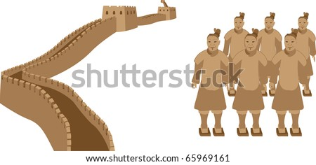 Great Wall of China and Terra-Cotta Warriors - stock vector