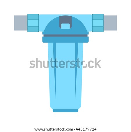 Great water filter purify your drinking water isolated. Clear fresh home kitchen interior water filter. Wellness liquid, clean ecology water filter. Purity healthy isolated pipe vector equipment. - stock vector