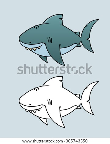 Great white shark.Happy,funny looking cartoon character.Coloring book vector illustration - stock vector