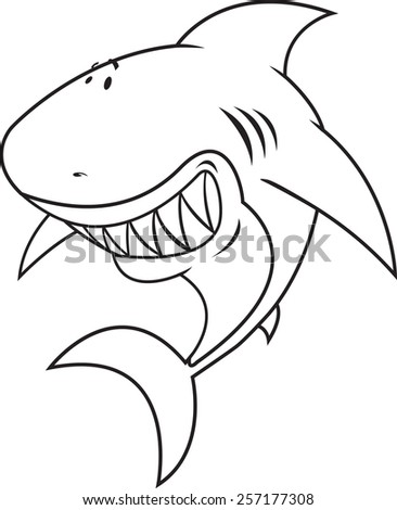 Great white shark Happy,silly looking shark coloring book illustration - stock vector