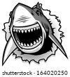 Great White Shark ripping with opened mouth - stock vector