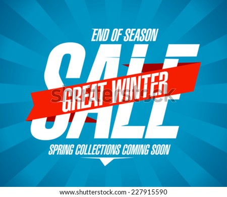 Great winter sale design in retro style. - stock vector