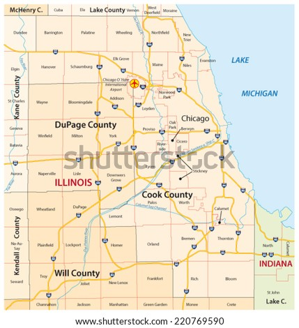greater chicago map - stock vector