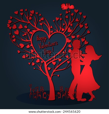 Greating Valentines day card with tree of hearts, doves and dancing couple - stock vector