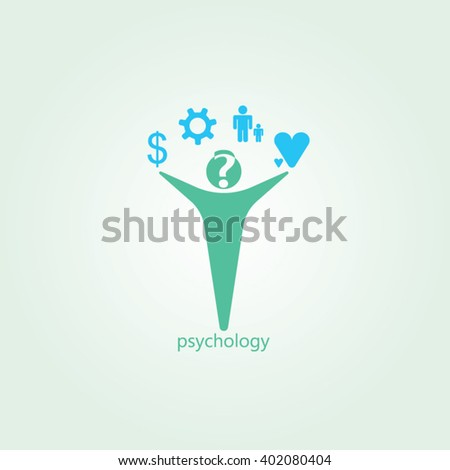 Gree man blue icon and gradients background for psychology logo design - stock vector
