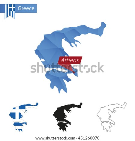Greece blue Low Poly map with capital Athens, four versions of map. Vector Illustration. - stock vector