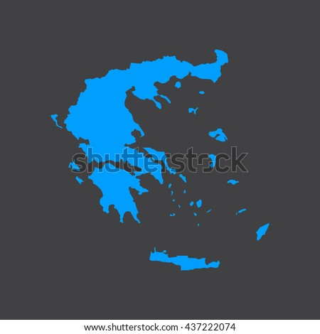 Greece blue map,border on black background. Vector illustration. - stock vector