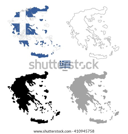 Greece country black silhouette and with flag on background, isolated on white - stock vector
