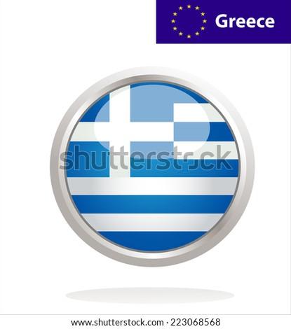 Greece flag button - stock vector