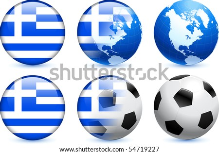 Greece Flag Button with Global Soccer Event Original Illustration - stock vector