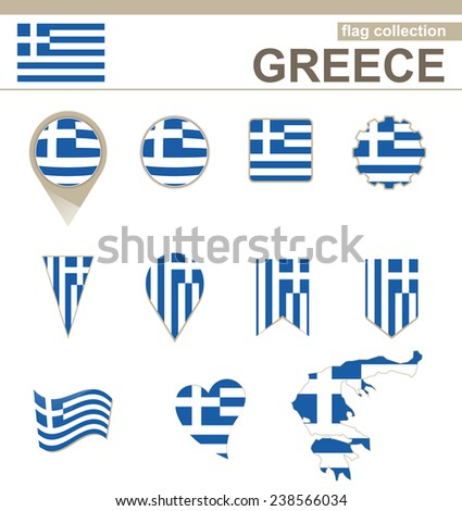 Greece Flag Collection, 12 versions - stock vector