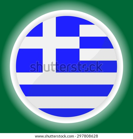 Greece Flag Glossy Button on green background - stock vector