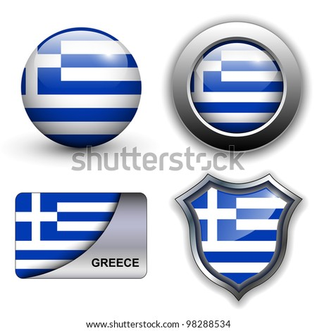 Greece flag icons theme. - stock vector