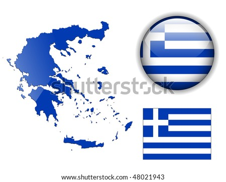 Greece flag, map and glossy button, vector illustration set. - stock vector