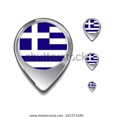 Greece flag map pointer. 3d Map Pointer with flag glossy button style on gray background - stock vector
