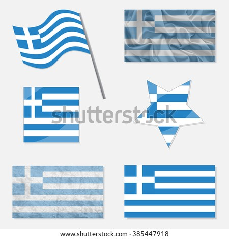 Greece Flags Made in Different Variations: in Flat Design, with  Fabric Texture and as Web Buttons - stock vector
