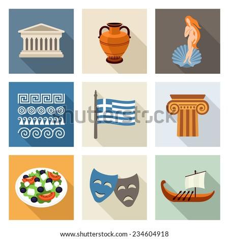 Greece icon set - stock vector