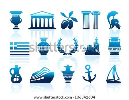 Greece icons - stock vector