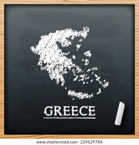 Greece map chalkboard design effect in vector format - stock vector