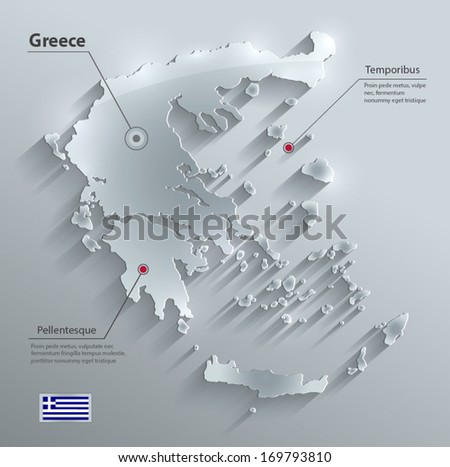 Greece map flag glass card paper 3D vector - stock vector
