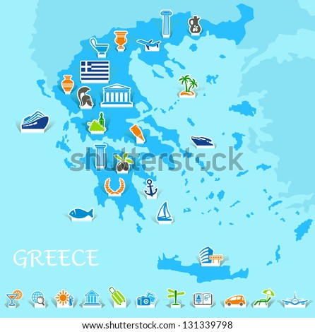 Greece map with icons of the Greek symbols and travel - stock vector