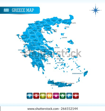 Greece Map with Navigation Icons - stock vector