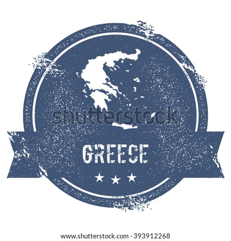 Greece mark. Travel rubber stamp with the name and map of Greece, vector illustration. Can be used as insignia, logotype, label, sticker or badge of the Greece.