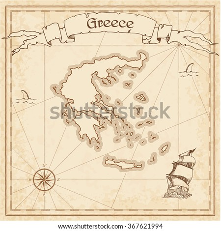 Greece old treasure map. Sepia engraved template of Greece treasure map. Stylized Greece treasure map on vintage torn paper. - stock vector