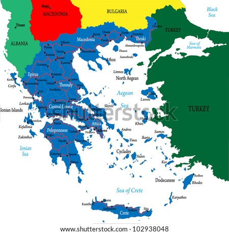Greece-political map - stock vector