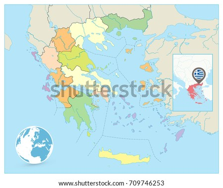 Greece Political Map No Text Detailed Stock Photo Photo Vector