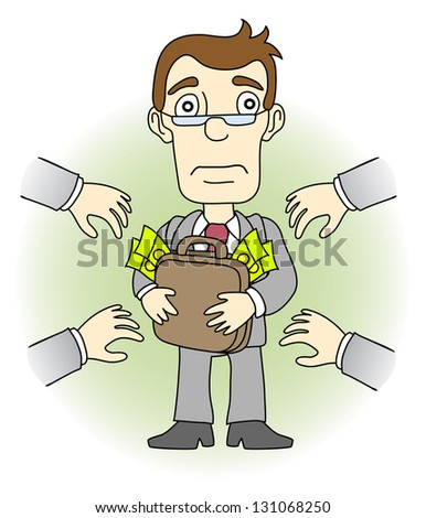 Greed man. Other people want to take his money. Vector illustration. - stock vector