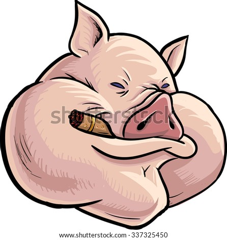 Greedy bossy pig character. Drawn in comic book style. Cartoon hero illustration. Vector character isolated on white background. - stock vector