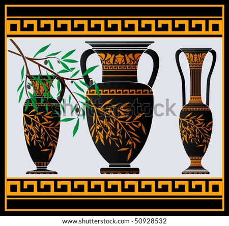 greek amphoras and jug. vector illustration