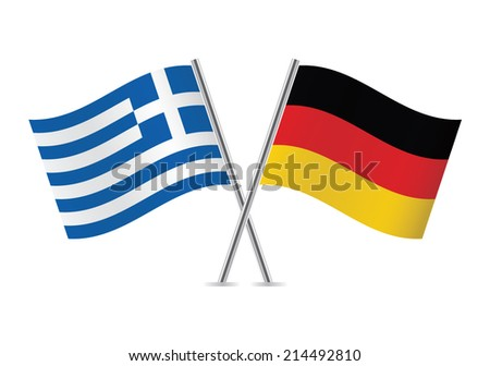 Greek and German flags. Vector illustration. - stock vector