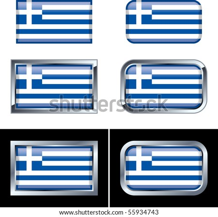 Greek Flag Buttons - stock vector