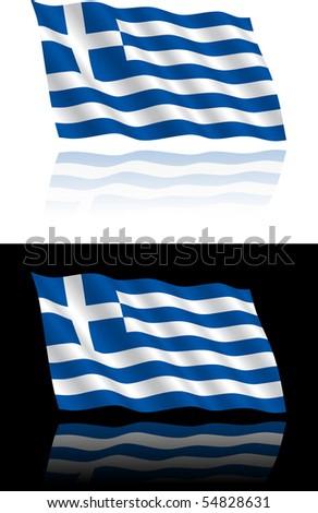 Greek Flag Flowing - stock vector
