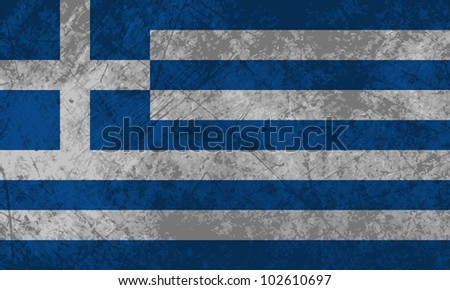 Greek flag with a grunge texture effect.