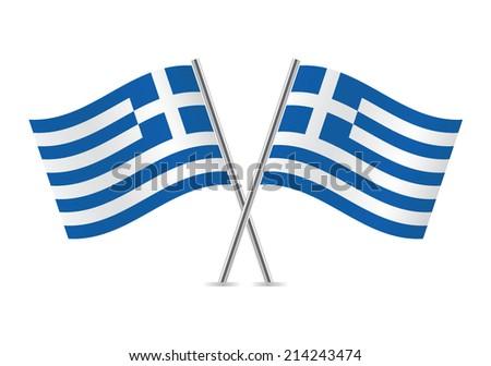 Greek Flags. Vector illustration. - stock vector