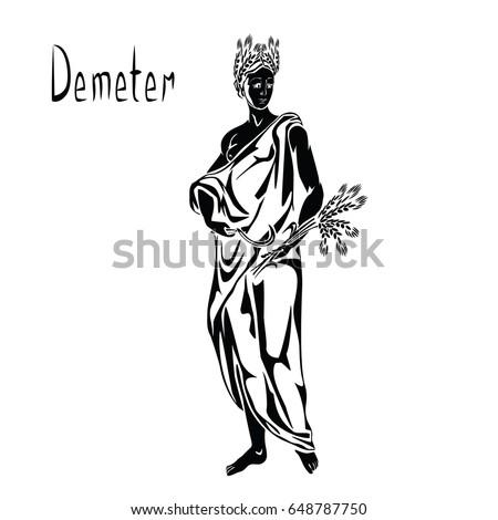 Greek Goddess Demeter Ceres Ancient Roman Stock Vector Royalty Free