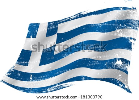 Greek grunge flag. Flag of greece in the wind with a texture - stock vector
