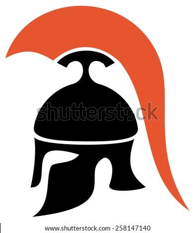 Greek helmet silhouette - stock vector