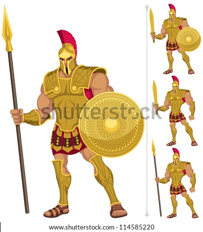 Greek hero isolated on white. On the right are 3 additional versions of him.  No transparency and gradients used. - stock vector