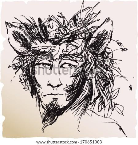 Greek Mythology God Pan Faun Sketch Stock Photo Photo Vector