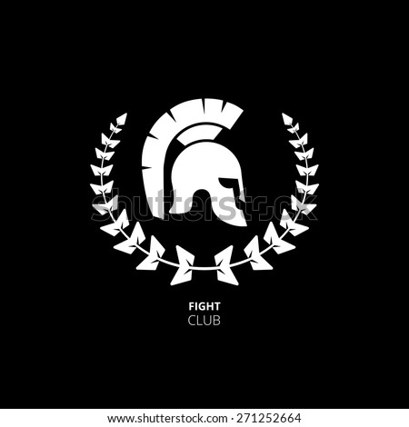 Greek or Roman Helmet. Warrior or fight club logo - stock vector