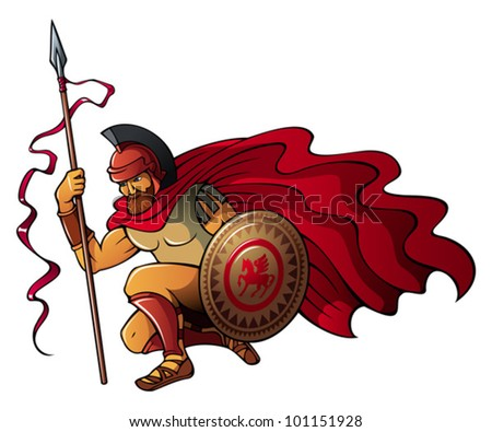 Greek or Spartan warrior holding spear and shield, vector illustration - stock vector